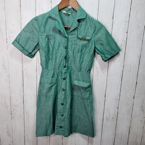 Vintage Girl Scout Green Cotton Dress 50's, 60's